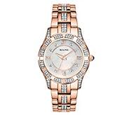 Bulova Womens Crystal Accent Rosetone BraceletWatch - J343573