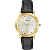 Bulova Ladies Black Leather Strap Watch - J343873