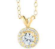 Halo Pendant, 14K Yellow Gold, 1/4 cttw, by Affinity - J345273