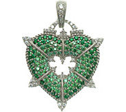 Judith Ripka Sterling and Green Diamonique Heart Enhancer - J345373