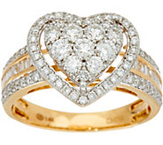 1.00 cttw Heart Cluster Diamond Ring 14K Gold by Affinity - J347273