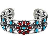 American West Sterling Silver Turquoise & Red Coral Flower Cuff - J350473
