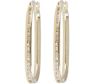 Vicenza Gold Crystal Oval Hoop Earrings 14K Gold - J374773