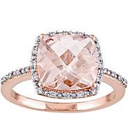 3 ct Morganite & 1/10 cttw Diamond Ring, 14K Rose Gold - J375173