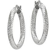 Sterling Diamond-Cut Round Hoop Earrings by Silver Style - J375773