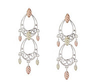 Black Hills Double Teardrop Dangle Earrings, St erling/12K - J110774