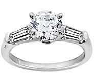 Diamonique 1.50 cttw Round & Baguette Ring, Platinum Clad - J111674