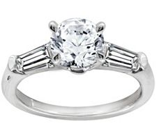 Epiphany Diamonique 1.50 ct tw Round and Baguette Ring