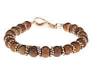 Honora Cultured Pearl 7.5mm Ringed 8 Bronze Bead Bracelet - J284974