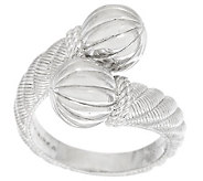 Judith Ripka Sterling Polished and Fluted Bead Bypass Ring - J287374