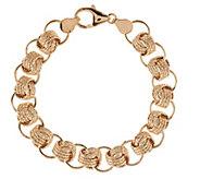VicenzaGold 7-1/4 Textured Status Link Bracelet 14K Gold, 7.1g - J291174