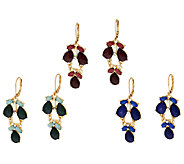 Set of 3 Colored Teardrop Cabochon Dangle Earrings - J296874