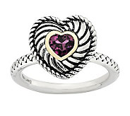 Simply Stacks Sterling Two-Tone Rhodolite Garnet Heart Ring - J313174