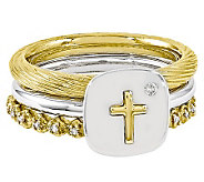 Simply Stacks Sterling Two-Tone Diamond Cross Ring Set - J314574