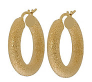 Veronese 18K Clad 1 Textured Hoop Earrings - J314874