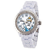 Disney Womens White Enamel Cinderella Watch - J315574