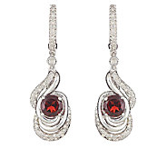 Sterling Silver Round Gemstone and 1/4 ct tw Diamond Earrings - J315774
