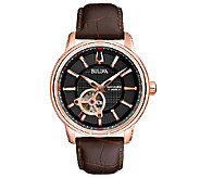 Bulova Mens Automatic Brown Leather Strap Watch - J316474