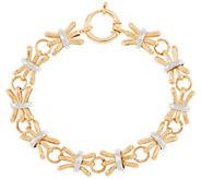 14K Gold 7-1/4 Textured & Polished Alternating Bracelet, 7.3g - J320874