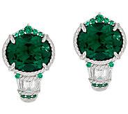 Judith Ripka Sterling Green & White Diamonique Earrings - J321774