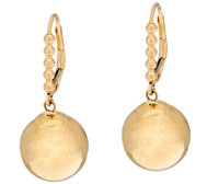 EternaGold 12.0mm Bead with Beaded Lever Back Earrings, 14K