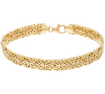 "14K Gold 8"" Domed Mirror Byzantine Bracelet, 6.2g - J323974"