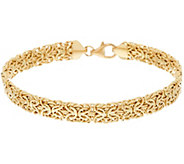 14K Gold 8 Domed Mirror Byzantine Bracelet, 6.2g - J323974