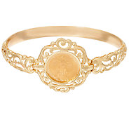 14K/22K Gold Liberty Coin Scroll Design Average Bangle Bracelet, 13.2g - J324874