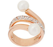 As Is Honora Cultured Pearl 6.5mm & .50cttw White Topaz Bronze Ring - J325974