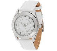 As Is Stainless Steel Live Your Dream Leather Strap Watch - J327874