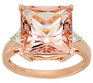 Princess Cut Morganite & Trillion Diamond Ring 14K, 7.00 cts - J329374