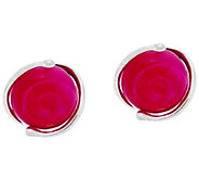 Kalos by Hagit Sterling Silver Pink Glass Stud Earrings - J329774