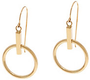 14K Gold Polished Movable Circle Dangle Earrings - J330274