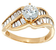 Diamonique Solitaire and Baguette Ring, 14K Gold - J331374