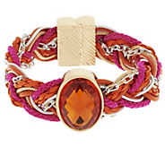 As Is Susan Graver Braided Bracelet with Gem Detail - J333474