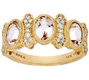 Judith Ripka 14K Gold_1.70 cttw Morganite 1/3 cttw Diamond ring - J334274