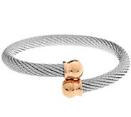 As Is Stainless Steel Round Cable Bracelet with Bead End Caps - J346774