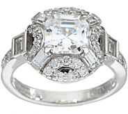 TOVA for Diamonique Asscher and Baguette Ring, Sterling - J347074
