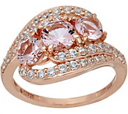 Diamonique and Simulated Morganite Ring, 14K Rose Clad - J347274