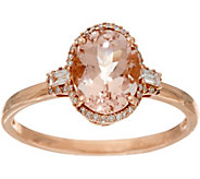 Oval Morganite & Baguette Diamond Solitaire Ring 14K, 1.25 ct - J348674