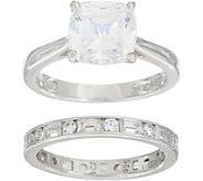 Diamonique Cushion Bridal Ring Set, Platinum Clad - J349674