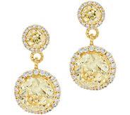 Judith Ripka Sterling & 14K Clad Canary Diamonique Drop Earrings - J349774