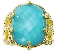Judith Ripka 14K Clad Turquoise & Diamonique Ring - J377174