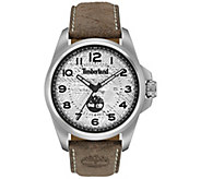Timberland Mens Silver Stainless Brown LeatherWatch - J380774