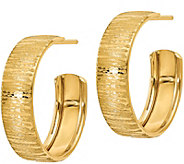 Italian Gold Round Textured Hoop Earrings, 14K - J381774