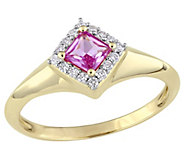 14K Gold Princess-Cut Pink Sapphire & Diamond Halo Ring - J382474