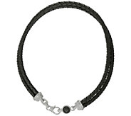 Judith Ripka Sterling 18 Black Spinel LeatherNecklace - J383574
