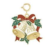 Enamel Holiday Bells Charm, 14K - J107175