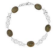 Sterling Silver Connemara Marble Celtic Link Bracelet - J273975