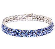 19.00 ct tw Tanzanite Triple Row 7-1/4 Sterling Tennis Bracelet - J275775